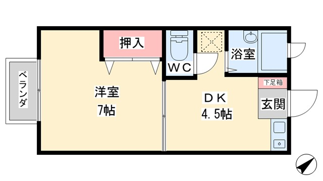 アパマートマンスリー 富山市 呉羽駅 Wi-Fi無料 1DK写真5